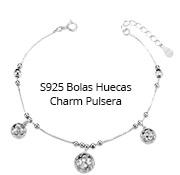 S925 Bolas Huecas Charm Pulsera