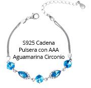 S925 Cadena Pulsera con AAA Aguamarina Circonio