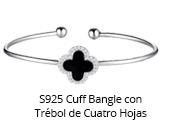 S925 Cuff Bangle con Trébol de Cuatro Hojas