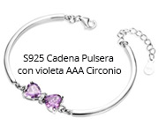 S925 Cadena Pulsera con violeta AAA Circonio