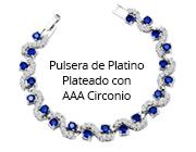 Pulsera de Platino Plateado con AAA Circonio